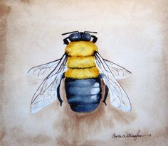 Bumble Bee  11x12 inch Original Watercolor  nature by paintedbliss, $65.00