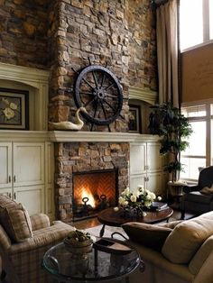 Eldorado Stone Fireplace Design Ideas, Pictures, Remodel, and Decor Home Fireplace, Home, Room Remodeling, Rustic Fireplaces, Rustic Living Room, Rustic House, House Design, Fireplace Design, Family Room