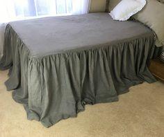 New to CustomLinensHandmade on Etsy: Industrail rustic medium grey linen Bed Cover ruffle bedding linen bedding shabby chic bed cover queen bedspread king bedspread (237.00 USD)