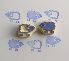 Sheep rubber stamp lamb rubber stamp set of 2 cute by HVasilevShop Lamb Craft, Crafts To Do, Crafts For Kids, Lino Art, Barn Wood Crafts, Cute Sheep, Stamp Carving, Handmade Stamps, Linoprint