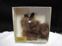 Mid Century 1950s Mink Poodle Dog Pin Fur Fox  Brooch Hair Pin Rockabilly NMIB #Unbranded