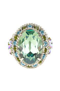 Sorrelli  Ocean Crystal Oval Studded Cocktail Ring