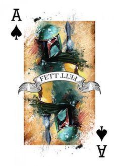 bounty hunter boba fett star wars cards ace playing art