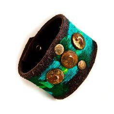 Upcycled Jewelry | Boho Gypsy Chic Leather Cuff Upcycled Jewelry OOAK by rainwheel