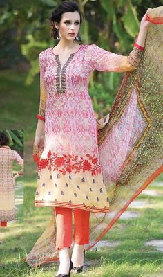 Cuddle your inner beauty by draping this pink and beige color georgette printed pant style suit. The attractive lace, resham and printed work a considerable element of this attire. #reshamworkdresses #fancysuits #fancystaightdress