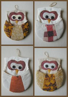Owl pocket pouch - I just followed an owl trail that started here - http://roolen.blogspot.ca/2009/12/blog-post_07.html and led to  http://www.sewlover.com/home/tutorial/owl_pocket.html  and http://vick-et-pique-et-colle.over-blog.com/article-chouette-vide-poche-39469377.html  (tutorial is at the sewlover site) :D                                                                                                                                                                                 Plus