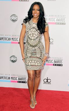 Kelly Rowland: Kelly Rowland showed off her svelte figure in an embellished metallic minidress by Naeem Khan.