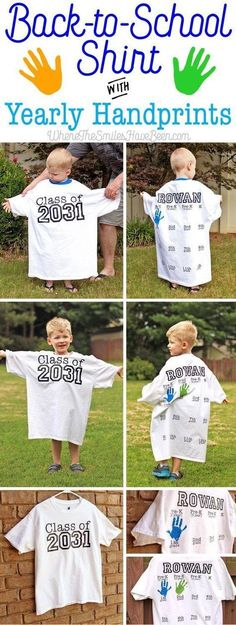 Back to school shirt with yearly hand prints.  Such a cute idea!!!