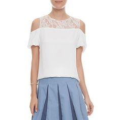 IORANE - Blusa ombro vazado renda - branco - OQVestir