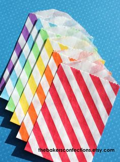 Striped Paper Favor Bags  BOYS RAINBOW  6 by thebakersconfections, $4.50
