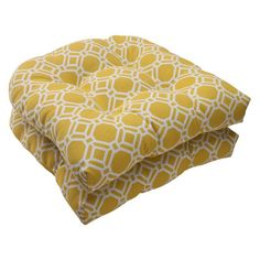 Pillow Perfect Rossmere Yellow Wicker Chair Seat Cushion - Set of 2 - 506821