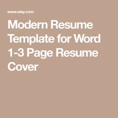 Clothes fashion Modern Resume Template for Word 1-3 Page Resume Cover