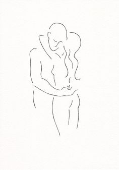 Minimalist couple line art. Black and white romantic drawing by siret roots.