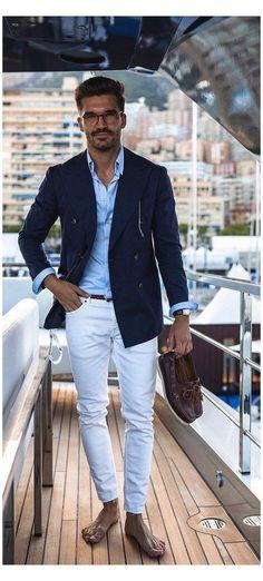 Blue Blazer Outfit Men, Blazer Bleu, Blazer Outfits Men, Men Blazer, Navy Blue Blazer, Stylish Men, Men Casual, Casual Jeans, Smart Casual
