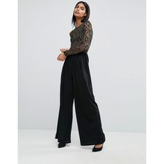 Rare London Wide Leg Jumpsuit In Metallic Lace (135 SAR) ❤ liked on Polyvore featuring jumpsuits, black, tall jumpsuit, wide leg jumpsuit, jump suit, lace jumpsuit and rare london