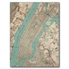 Carte vintage de New York City (1890) Carte Postale | Zazzle