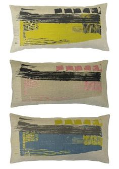"""Laura Slater- """"Concrete"""" collection - hand screen printed cushions"""
