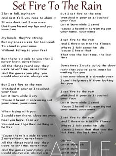 Adele Set Fire To The Rain Lyrics Sheet Source by freeprintableon The Rain Lyrics, Adele Lyrics, Great Song Lyrics, Song Lyric Quotes, Songs To Sing, Music Lyrics, Music Quotes, Music Songs, Pop Lyrics