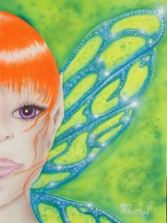 A fairy airbrushed on canvas, my original design  visit www.luckyart.it