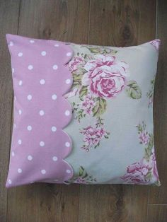 Sewing Cushions Handmade Cushion Cover in Flora Dotty Rose and by BreifneCottage, - Cute Pillows, Diy Pillows, Decorative Pillows, Throw Pillows, Shabby Chic Pillows, Handmade Cushion Covers, Handmade Cushions, Patchwork Cushion, Quilted Pillow