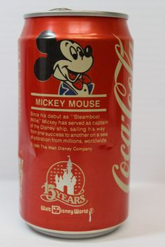1986 Vintage Mickey Mouse Walt Disney World 15th Anniversary Coca Cola (Coke) Can on Etsy, $4.00