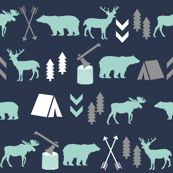 Colorful fabrics digitally printed by Spoonflower – woodland camping boys nursery grey mint navy blue kids outdoors bear tent wood trees forest - Modern Mint And Navy, Navy Blue, Outdoor Nursery, Grey Nursery Boy, Nursery Wallpaper, Wood Tree, Tree Forest, Custom Fabric, Spoonflower