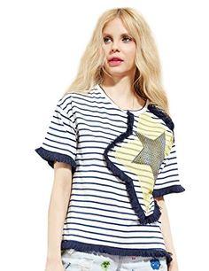 Womens Summer Star Appliques Striped Tee Shirt Blue