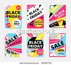 Flat design Black Friday sale website banner template set. Bright colorful vector for social media, posters, email, print, ads, promotional material. Yellow Pink Blue white