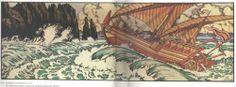 "Illustration for the Fairy Tale ""Sinbad the Sailor"" by Ivan Bilibin Sinbad The Sailor, Ivan Bilibin, Picture Boxes, Blue Fairy, Art Database, Arabian Nights, Russian Art, Illustrators, Art Nouveau"
