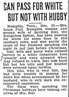 Fighter Battling Siki's Wife Passes for White - December, 1924