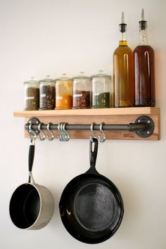 Industrial Rack made of Steel Pipes and Wood. Free by deGaspeMFG%categories%Kitchen Industrial Decor, Home Projects, Interior, Diy Furniture, Home, Industrial Racks, Home Diy, Kitchen Organization, Diy Kitchen