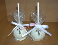 White and silver Cross Cakepop.  Nohora, what is your minimum order for cakepops?