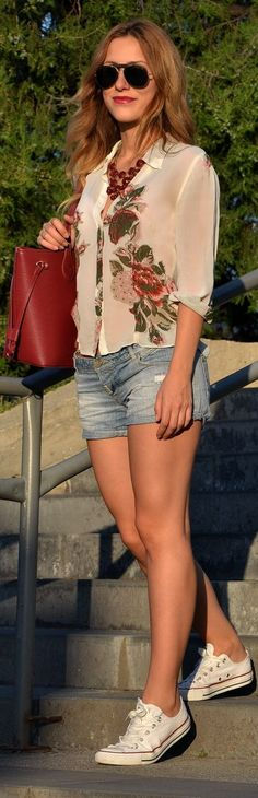 Mexx White Women's Chiffon Sheer Floral Print Button Up Shirt