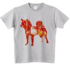 柴犬ルビーのシルエットTシャツ メジャーリーガー イチロウ選手も着用した アートな柴犬ルビーのデザイン。