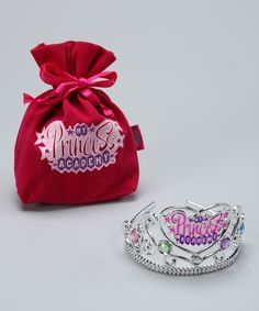 Take a look at this Silver 'Princess Academy' Crown & Velvet Bag by My Princess Academy on #zulily today!