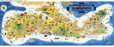 What a fun Nova Scotia map for planning a road trip- said no one ever. It's awful and your friends will assume you are dead East Coast Travel, East Coast Road Trip, Nova Scotia Tourism, Lunenburg Nova Scotia, Annapolis Royal, Canada Pictures, Discover Canada, Pictorial Maps, Atlantic Canada