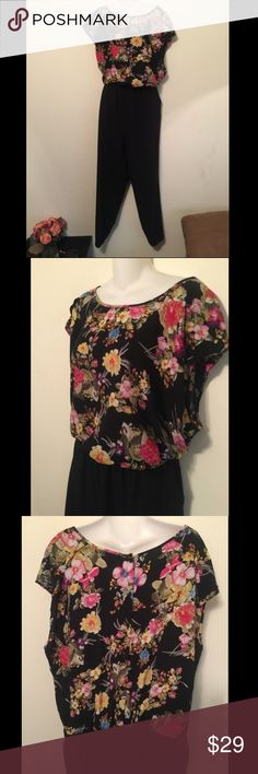 Black floral jumpsuit - plus size 3x Black floral jumpsuit - plus size 3x. Elastic waistband. Buttons in the Back of top. Inseam is 29 inches. Polyester 11% spandex. Forever 21 Plus. Tag reads size 3x Pants Jumpsuits & Rompers