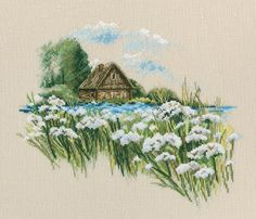 Warm Peace of the Bloomy Summer 2 Cross Stitch Kit Modern Cross Stitch, Cross Stitch Kits, Embroidery Kits, Cross Stitch Embroidery, Linen Fabric, Peace, Canvas, Pattern, Pictures