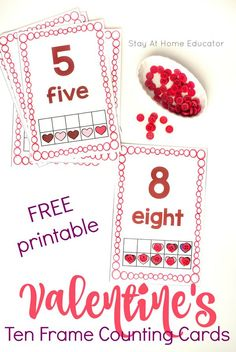 FREE Valentine's Day Ten Frame Math Counting Cards - Teach ten frame math in a fun way with these free printable Valentine's Day counting cards. Can be used with preschoolers or in kindergarten, but are just one of many fun learning activities for Valentine's Day.  #valentinesday #kidsactivities #hearts #freeprintables