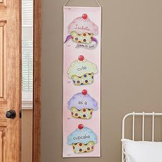 "Awwww! This is so cute, I LOVE it! -- ""Cute As A Cupcake"" Personalized Growth Chart - so you can keep track of your little one's height as she growns up! #growthchart #cupcake #kidsgifts"