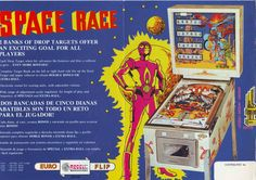 RECEL SPACE RACE ORIGINAL SPANISH FLIPPER PINBALL MACHINE FLYER BROCHURE 1977 #pinballart #scifipinball #pinballflyer #spaceagepinball