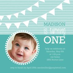 Turquoise Banner First Birthday Invite by PurpleTrail.com