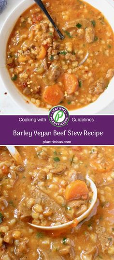 Hearty vegan beef stew with barley, tomatoes, veggies and beefy TVP. Enjoy all the classic flavors of your favorite stew without any of the fat and cholesterol, an oil free plant based recipe loaded with protein, flavor and healthy carbs. No beef! Vegan Beef Stew Recipe, Vegan Stew, Vegan Bolognese, Beef Barley, Celery Rib, Healthy Carbs, Vegetable Protein, Base Foods, Nutritious Meals