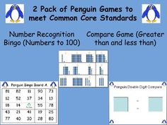 A time and money saving 2 pack of penguin themed math games.  One game is numerals to 100 recognition bingo and the other is all about using the greater than and less than symbols to compare 2 digit numbers