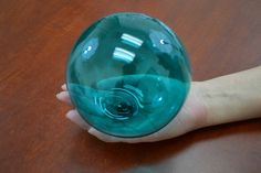 "Turquoise Green Reproduction Blown GLASS FLOAT Fishing Buoy Ball 5"" F-877A"