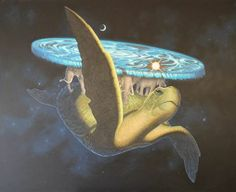 24 de mayo: Today is World Turtle Day, paint of Great A'Tuin II World Turtle Day, Terry Pratchett Discworld, The Great, Tumblr, Fantasy, Tattoo Ideas, Illustration, Painting, Animals