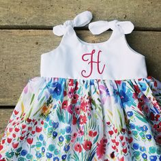 b4c255c8 Girls floral Dress, baby girls, coming home outfit, watercolor flower,  summer dress, monogram, monogrammed dresses, Shelby Jane, boho baby