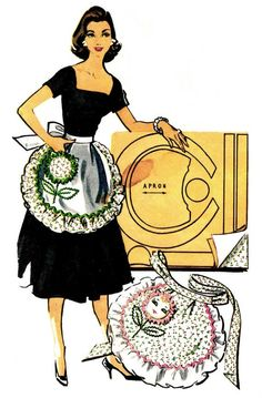 1950s Womens Apron Pattern Ruffled Hostess Half