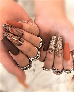 Fall Nail Art Designs, Acrylic Nail Designs, Nails Design Autumn, Brown Nail Designs, Claw Nails Designs, Fall Designs, Elegant Designs, Perfect Nails, Gorgeous Nails