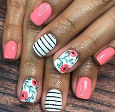 30 ideas which nail polish to choose - My Nails Striped Nails, White Nails, Nails With Stripes, White Pedicure, Pink Stripes, Spring Nails, Summer Nails, Spring Nail Art, Nail Polish